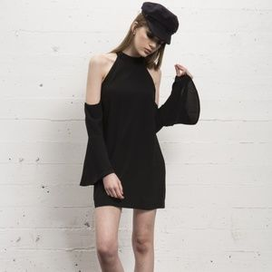 (NEW) WYLDR Black Cold Shoulder Bell Sleeve Dress